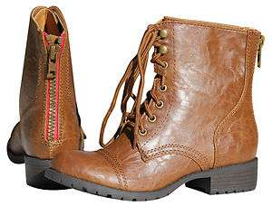 Womens Military Army Ankle boots Tan Soda SIGN