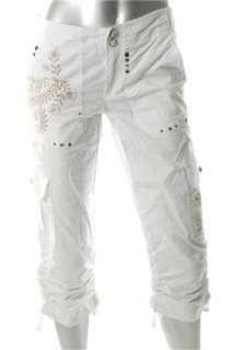 INC NEW Embellished Cargo White Embroidered Capri Pants Misses 12