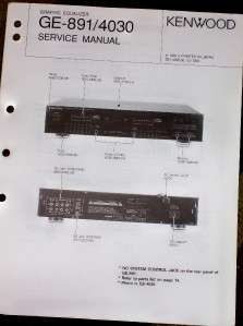 Kenwood GE 891/4030 Graphic Equalizer Service Manual