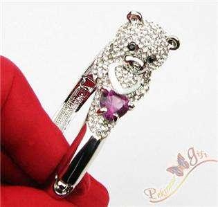 New White Swarovski Crystal Panda/ Bear Bracelet Bangle