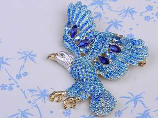 Blue Sapphire American USA Eagle Bird Swarovski Crystal Rhinestone Pin