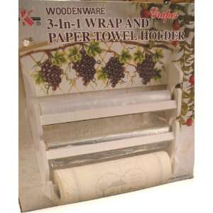com 3 In 1 Wrap and Paper Towel Holder  Grapes Country Design w/Wood