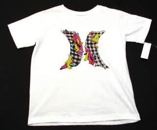 Hurley White/Black Plaid/Neon Tee Shirt Boys NWT $22