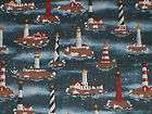 HARBOR LIGHTS SCENIC~LIGHTHO​USES~ BLUE~COTTON FABRIC