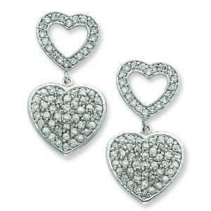 Sterling Silver Open Heart And Hanging Full Heart Cz Post