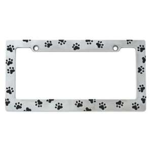 Paw Print Corrosion Resistant Chrome Plated Metal License Plate Frame