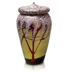 Glass Pet Urn Tall Cherry Blossom Patio, Lawn & Garden