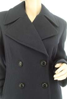 New DKNY Wool Navy Blue Notched Collar Double Breasted Womens Pea Coat