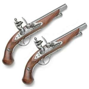 of 18th Century Pirate Flintlock Pistols   Wood and Metal Replica Guns
