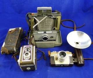 Vintage CAMERA Lot POLAROID 230 Land Camera KODAK DUAFLEX IV Argus C