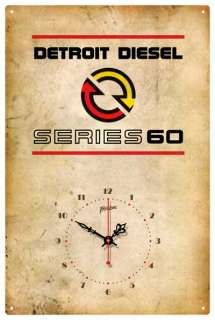 DETROIT DIESEL SERIES 60 VINTAGE TIN SIGN CLOCK