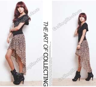 New Womens Asymmetric Casual Waist Band Leopard Long Chiffon Skirt