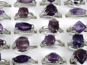 Lots Wholesale 10pcs Mix Purple Natural Stone Silver Rings r186