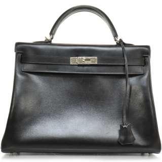 HERMES Box Leather KELLY 32 Bag Handbag Purse Black