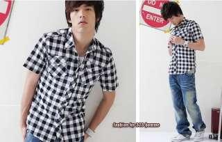 Mens Slim Fit UK Style Plaid Dress Shirts h80 M L XL
