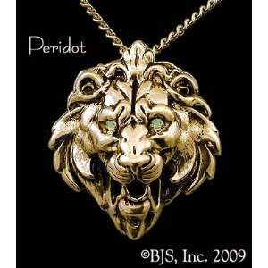 Lion Head Necklace, 14k Yellow Gold, 24 long gold plated