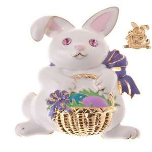 Jewelry White Bunny with Gold Basket Crystal Brooch Pin Pink Jewelry