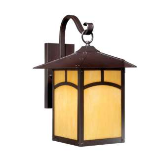 NEW 1 Light Mission Md Outdoor Wall Lighting Fixture, Bronze, Honey