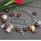 New Lampwork Glass Heart Round Bead Link Chain Bracelet