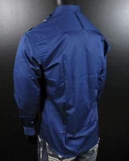 Mens Shirt STONE ROSE LED Navy Blue Purple Rivet Collection Button up
