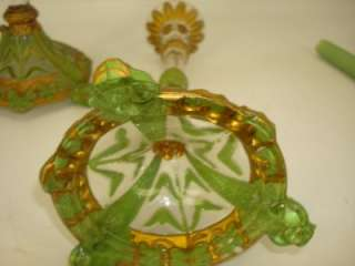 PAIR ANTIQUE FIGURAL HAND PAINTED GLASS CANDLESTICKS