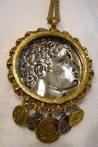 Huge Vintage Goldette Roman Medallion Coins Pendant Necklace