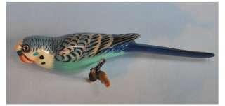 Vintage TAKAHASHI Hand Carved BLUE PARAKEET Painted WOOD BIRD Sits on