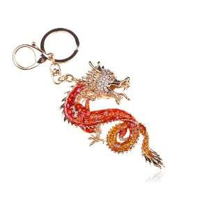 Gold Tone Fiery Red Crystal Rhinestone Lucky Chinese Dragon Clip Hook