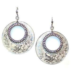 Sterling Silver Plated White Enamel Swarovski Crystals Dangle Earrings