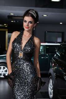 Pageant Halter V Neck Sequined Floor Length Gown Party Cocktail Dress