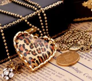 Fashion Leopard Heart Shaped Long Beaded Necklace Gold