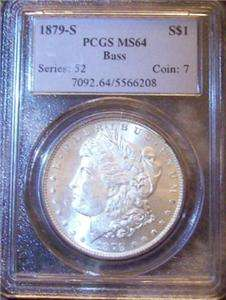 1879 S Morgan Silver Dollar PCGS MS 64 Bass Hoard Collection Antique