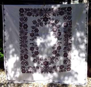 Antique Vintage c1930 Hand Quilted Embroidered Full Size Quilt