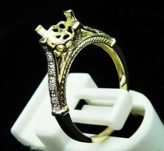 SOLID 14K YELLOW GOLD DIAMOND SETTING SEMI RING MOUNT