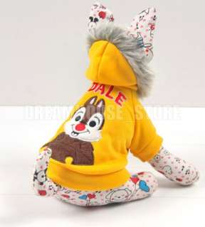 Yellow Squirrel Hoodie Pet Dog Coat Clothes Any Size