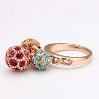 18K rose Gold plated Swarovski crystal 3 color ball Ring size 8