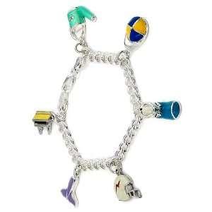 Sterling Silver 6 Enamel Dangling Charms Bracelet Jewelry