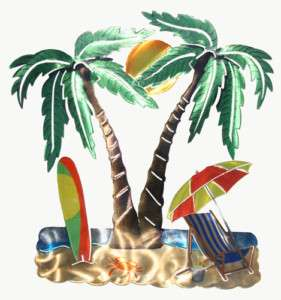 New ~ 3 D METAL WALL ART ~ LARGE PALM TREES BEACH SURF