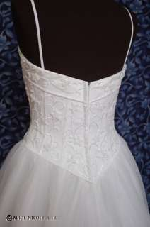 White Satin & Tulle Pretty Beaded Wedding Dress 6