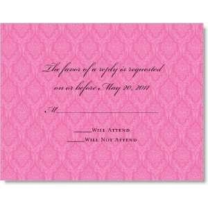 Prestigious Dark Pink Damask on Crystal Response Cards