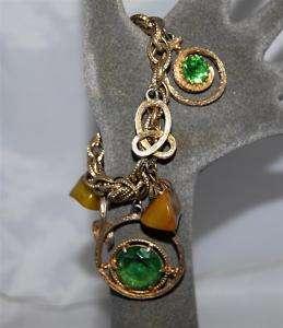Vintage Green Glass Gold Circle & Lucite Charm Bracelet