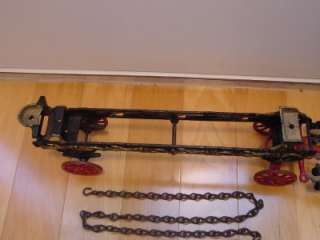 Rare Antique Original Cast Iron 2 Horse Drawn Fire Ladder Wagon