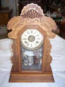 ANTIQUE ANSONIA KITCHEN WALL SHELF MANTEL CLOCK RUNS CHIMES WELL OAK