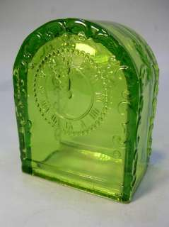 Antique WESTMORELAND GREEN GLASS MANTLE CLOCK CANDY CONTAINER w/ Foil