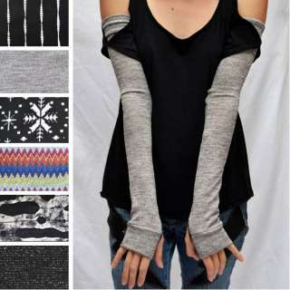 Extra Long Arm Leg Warmers Fingerless Covers Knit Gloves Gray Black