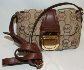 Michael Kors Jet Set Monogram Crossbody Bag Purse Handbag Khaki/Brown