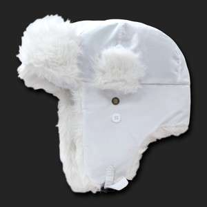 White Aviator Bomber Faux Fur Winter Ski Trooper Trapper Ear Flap Hat