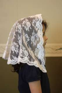 White child veil mantilla Catholic church chapel lace headcovering