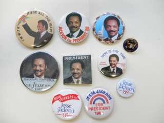 Lot of 11 US POLITICAL CAMPAIGN BUTTONS Jessie Jackson