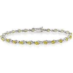 Silver Pear cut Yellow Sapphire Tennis Bracelet